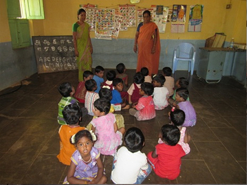 DAY CARE CHILDREN LEARNING ALPHABETS